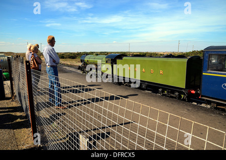 Romney Hythe Dymchurch Railway train at Dungeness Kent - Stock Photo