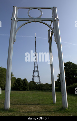 Corner replica cast iron piece of the Crystal Palace with antenna mast in Crystal Palace Park - Stock Photo