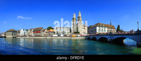 Switzerland, Zurich, Cathedral and Limmat river. - Stock Photo
