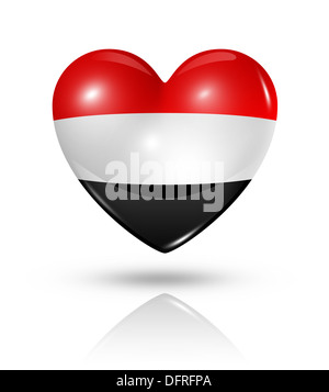 Love Yemen symbol. 3D heart flag icon isolated on white with clipping path - Stock Photo