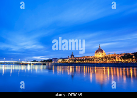 View of Rhone river in Lyon at night, France - Stock Photo