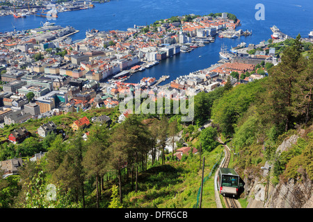 Aerial view of Floibanen funicular railway train and city around Bergen's Vågen harbour from Mount Floyen, Bergen, - Stock Photo