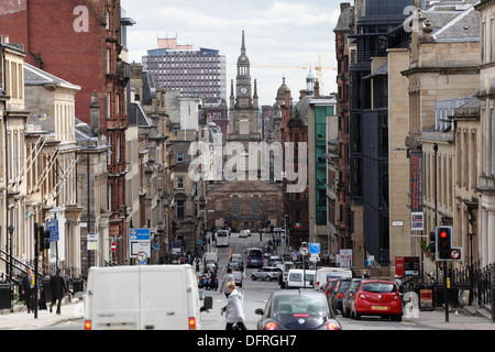 View looking East down West George Street towards St George's Tron Parish Church in Glasgow city centre, Scotland, - Stock Photo