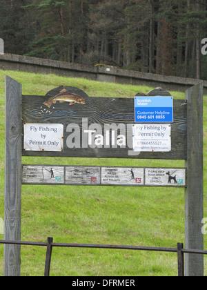 Talla Reservoir Sign, Nr Tweedsmuir, Borders, Scotland, UK - Stock Photo