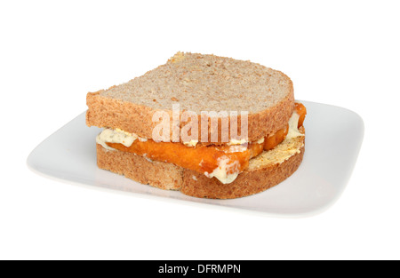 Fish finger sandwich on a plate isolated against white - Stock Photo