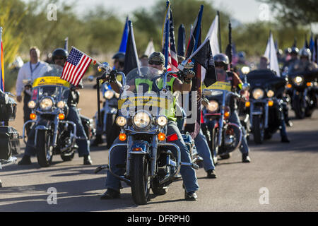Phoenix, Arizona, USA. 8th Oct, 2013. The Patriot Guard Riders accompany the cremated remains of unclaimed US military - Stock Photo