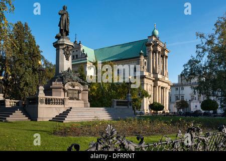 Monument of great Polish poet Adam Mickiewicz in Warsaw, Poland - Stock Photo