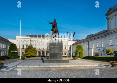 Statue of Prince Jozef Poniatowski on courtyard of Presidential Palace in Warsaw, Poland. - Stock Photo