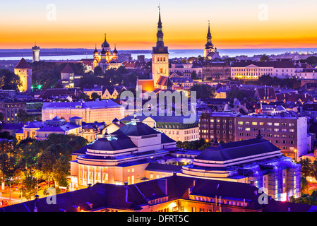 Skyline of Tallinn, Estonia at sunset. - Stock Photo