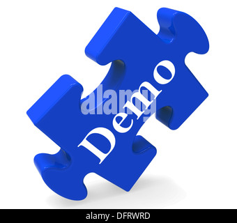 Demo Puzzle Showing Product Demonstration Trial Or Version - Stock Photo