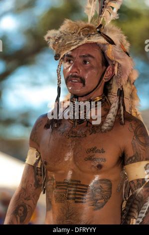 Chumash native American man, at the 2013 Inter Tribal Pow Wow, Live Oak camp, Santa Ynez Valley, California - Stock Photo