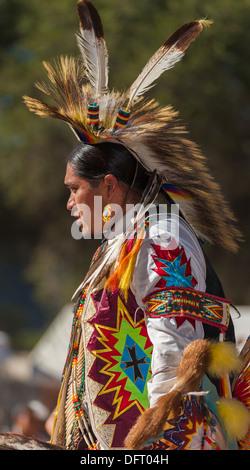 Chumash native American man, grass dancer, at the 2013 Tribal Pow Wow, Live Oak camp, Santa Ynez Valley, California - Stock Photo
