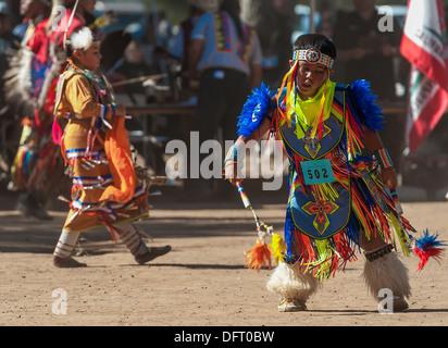 Chumash native American children dance at the 2013 Inter Tribal Pow Wow, Live Oak camp, Santa Ynez Valley, California - Stock Photo