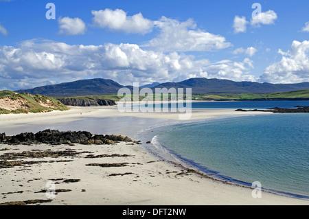 View over Balnakeil Bay, Durness, Sutherland, to Meall Meadhonach and Beinn Ceannabeinne, Ben Hope visible behind, - Stock Photo