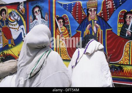 Pilgrims at cathedral surrounding area. Aksum, province of Tigray. Ethiopia - Stock Photo