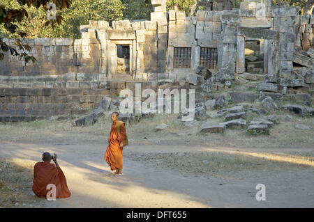 Monks. Ek Phnom Khmer temple. Battambang area. Kingdom of Cambodia. - Stock Photo