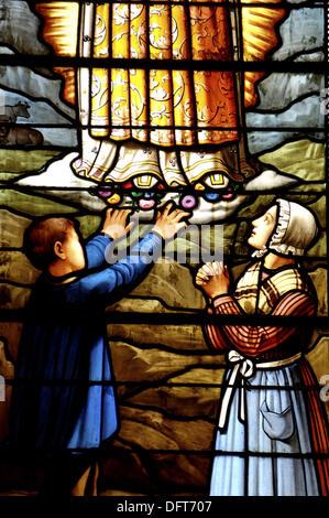 Stained glass window (19th century). Parish church of Saint-Martin. Island of Ré. Charente-Maritime Province. Atlantic - Stock Photo