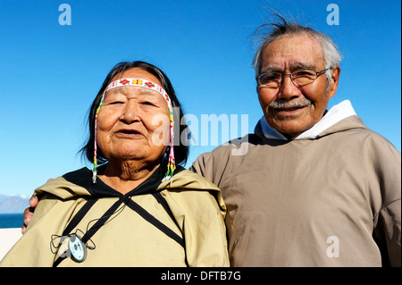Portrait of old Inuit couple, Pond Inlet village, Baffin Island, Nunavut, Canada - Stock Photo
