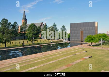Wall marking time of bombing 9:03 Oklahoma City Bombing Site Alfred P Murrah Building National Memorial - Stock Photo