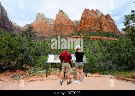 Court of the Patriarchs Mount Zion National Park Utah - Stock Photo