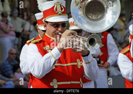 Band in Parade at Walt Disney Magic Kingdom Theme Park Orlando Florida Central - Stock Photo
