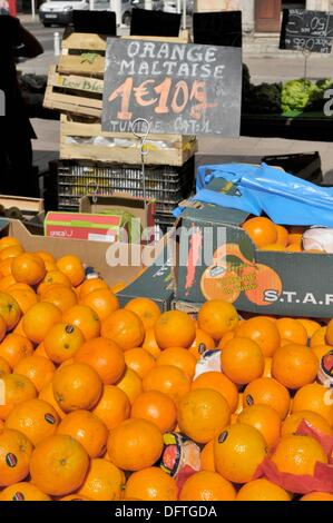 Oranges Display Market Toulon France French Riviera Mediterranean Europe Harbor - Stock Photo