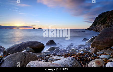 Porth Nanven cove also known as Cot Valley Beach near St Just on the Lands End Peninsular of Cornwall - Stock Photo