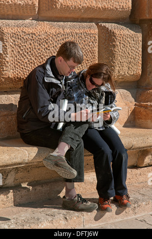 Palace of Charles V and tourists, Alhambra, Granada, Region of Andalusia, Spain, Europe - Stock Photo