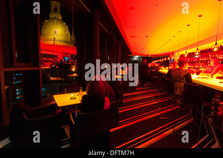 The Sky Bar atop the Innside by Melia Hotel with the Frauenkirche church in background, Dresden, Saxony, Germany - Stock Photo