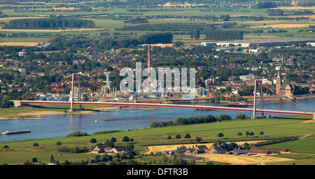 View of Emmerich across the Rhine and the Emmerich Rhine Bridge, Emmerich am Rhein, North Rhine-Westphalia, Germany - Stock Photo