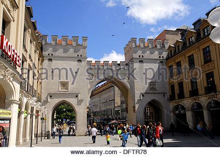 Germany, Bavaria, Munich, Neuhauser Strasse and Karlstor Karl Gate - Stock Photo