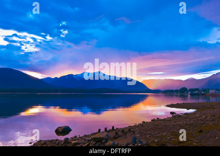 Sunset, near Petersburg, southeast Alaska USA - Stock Photo