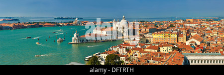 Panorama of Punta Della Dogana and Santa Maria della Salute on the Giudecca Canal, Venice, Venezien, Italy - Stock Photo