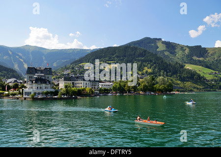 Pedalos on Lake Zell, Grand Hotel Zell am See at back, Zell am See, Salzburger Land, Oberösterreich, Austria - Stock Photo