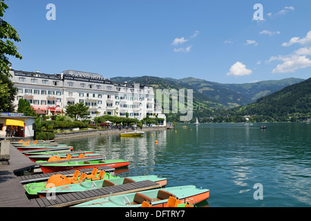 Grand Hotel Zell am See, on Lake Zell, pedalos at front, Zell am See, Salzburger Land, Oberösterreich, Austria - Stock Photo