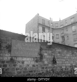 The Mur de Fédérés (Communards' Wall) is pictured on Pere Lachaise, the biggest cemetery of Paris, France, in November - Stock Photo