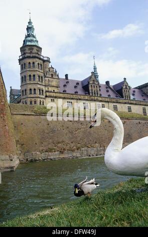 Kronborg Castle in Helsingor, Denmark. - Stock Photo