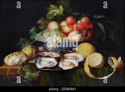 Jan Davidsz de HEEM - Still life with fruit and oysters - 1640 - Museum of Fine Arts - Budapest, Hungary. - Stock Photo