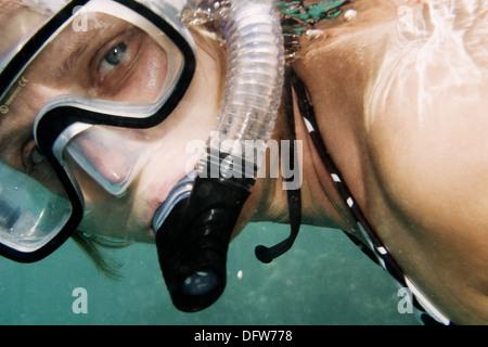Reef woman snorkeling underwater in Red Sea - Stock Photo