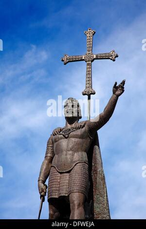Statue of Don Pelayo, Santuario de Covadonga, Asturias, Spain. - Stock Photo