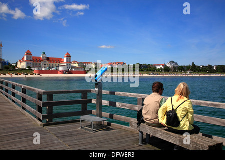 Binz pier, Ruegen Island, baltic Sea Coast, Mecklenburg-Western Pomerania, Germany - Stock Photo