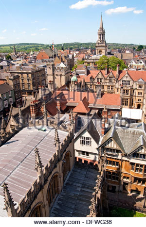 View over the medieval Skyline of the university city Oxford England. - Stock Photo