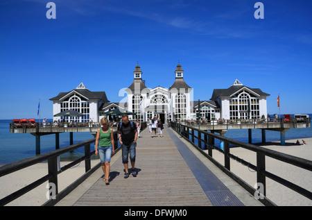 Sellin Pier, Ruegen Island, Baltic Sea Coast, Mecklenburg-Western Pomerania, Germany - Stock Photo