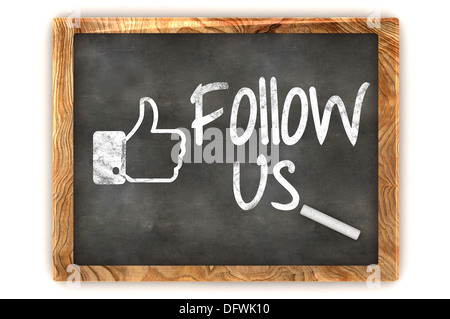 A Colourful 3d Rendered Illustration showing a Blackboard used for social media follows - Stock Photo