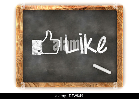 A Colourful 3d Rendered Blackboard with a Social Media Like - Stock Photo