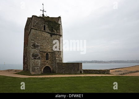 Isle of Wight St Helens old church remains of thirteenth century church - Stock Photo