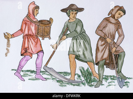 Feudalism. Field workers, C. 1350. Europe. Engraving 19th century.. Later colouration. - Stock Photo