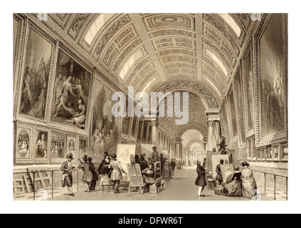 Illustration by Thomas Allom English architect and artist (13 March 1804 – 21 October 1872)  Grande Galerie Louvre - Stock Photo