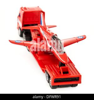 Matchbox (1991) diecast model replica of the BAe Hawk Trainer Mk1 aeroplane on a transporter - Stock Photo