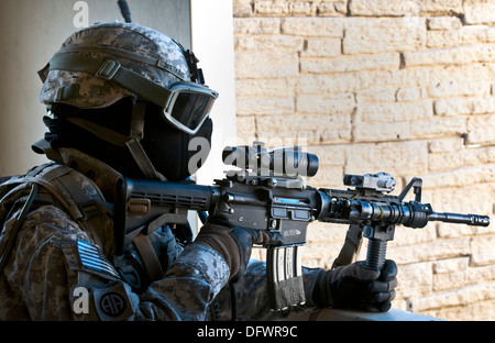 A U.S. Army paratrooper assigned to the 1st Battalion, 508th Parachute Infantry Regiment, 82nd Airborne Division - Stock Photo